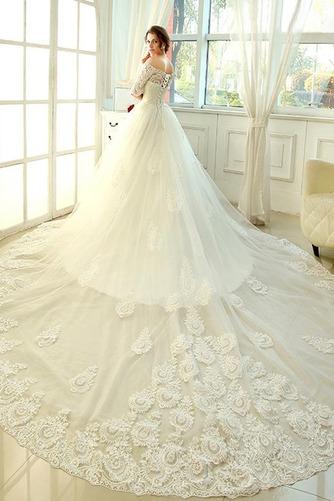 Vestido de novia Clasicos Mangas Illusion Otoño Cordón Recatada Corte princesa - Página 2