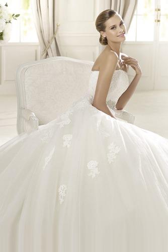 Vestido de novia Corte princesa Otoño Sin tirantes Iglesia Cremallera - Página 3