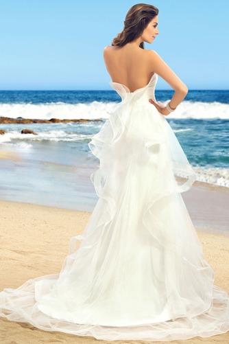 Vestido de novia Romántico Sin tirantes Verano Volante Satén Espalda Descubierta - Página 2
