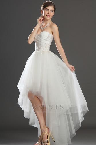 Vestido de novia Escote Corazón Apertura Frontal Asimétrico Dobladillo - Página 4