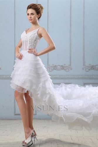 Vestido de novia Sin mangas Alto Bajo Escote de Tirantes Espaguetis - Página 3