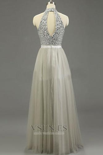 Vestido de noche Verano Corte-A Joya Abalorio Espalda medio descubierto - Página 3