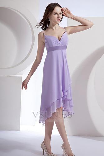 Vestido de dama de honor primavera Pera Escote de Tirantes Espaguetis Gasa Fajas - Página 4