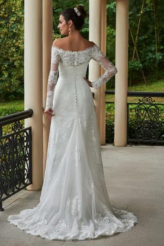 Vestido de novia vendimia Encaje Playa Alto cubierto Manga larga Natural - Página 2