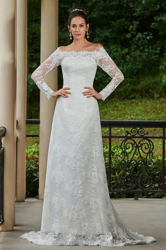 Vestido de novia vendimia Encaje Playa Alto cubierto Manga larga Natural - Página 1