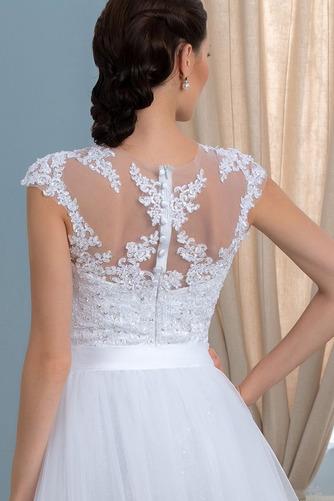 Vestido de novia Rectángulo Natural Pura espalda Cola Capilla Dobladillos - Página 5