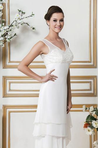 Vestido de novia Asimétrico Dobladillo Apliques Sin mangas Otoño Natural - Página 4