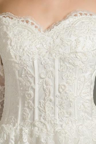 Vestido de novia Natural Clasicos Iglesia Corte-A Escote Corazón La mitad de manga - Página 4