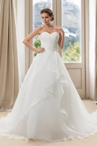 Vestido de novia Verano Blusa plisada Abalorio Espalda Descubierta Sala - Página 1