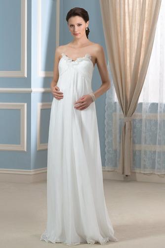 Vestido de novia Imperio Sencillo Gasa Otoño Cola Barriba Plisado - Página 1