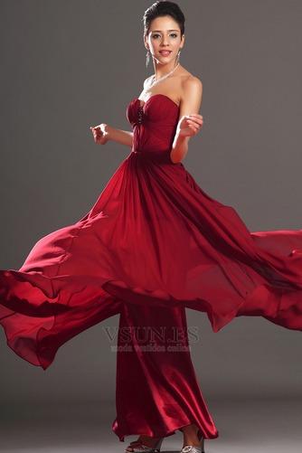 Vestido de noche Rojo Oscuro Sin tirantes Para Imperio Natural Cremallera - Página 4