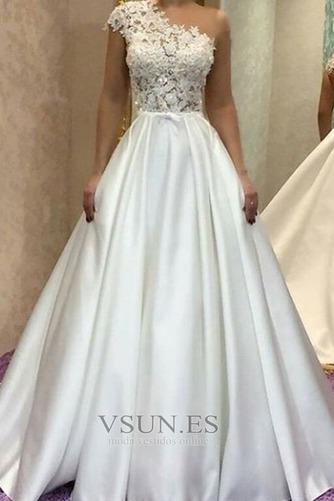 Vestido de novia Capa de encaje Iglesia Un sólo hombro Formal Sin mangas - Página 1