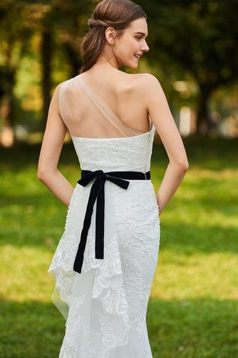 Vestido de novia Moderno Sin mangas Natural Un sólo hombro Lazos Encaje - Página 5