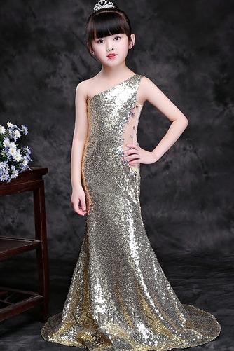 Vestido niña ceremonia Natural Falta Con lentejuelas Corte Sirena Verano Un sólo hombro - Página 1