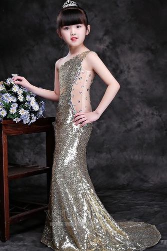 Vestido niña ceremonia Natural Falta Con lentejuelas Corte Sirena Verano Un sólo hombro - Página 3