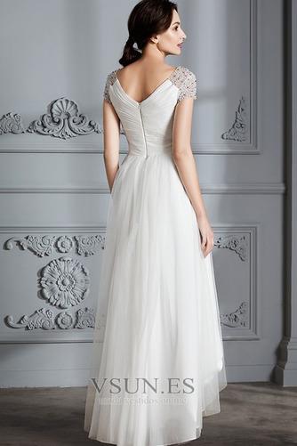 Vestido de novia Verano Manga corta Falta Asimétrico Dobladillo Plisado - Página 2
