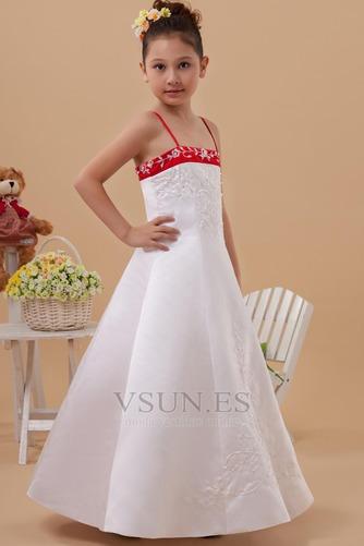 Vestido niña ceremonia Natural Marfil 14 Años de edad Sin mangas Corte-A Satén Elástico - Página 2