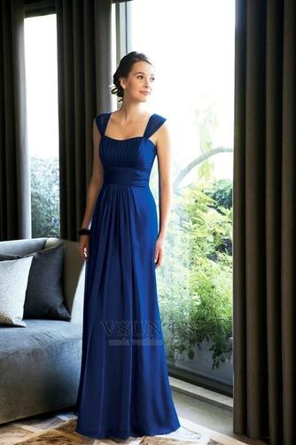 Vestido de dama de honor Tiras anchas Blusa plisada Hasta el suelo azul marino - Página 1