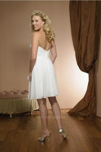 Vestido de novia Sin tirantes Corte-A Rectángulo Verano Gasa Marfil - Página 2