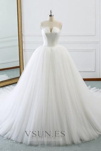 Vestido de novia Corte-A primavera Drapeado largo Cordón Sala - Página 1