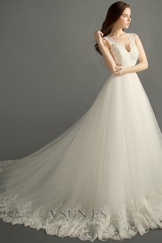 Vestido de novia Invierno Hasta el suelo Sala Apliques Cremallera Corte-A - Página 2