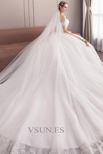 Vestido de novia Formal Manga tapada Capa de encaje Corte-A Natural - Página 4