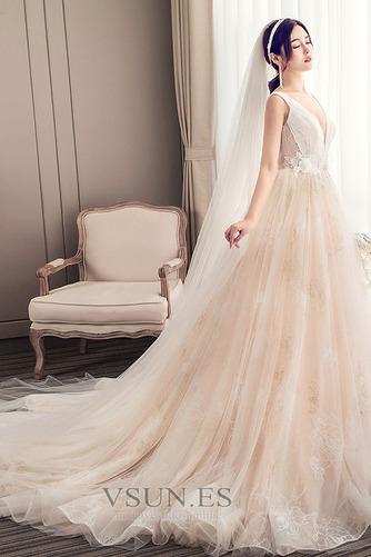 Vestido de novia Corte-A Apliques Baja escote en V Natural Fuera de casa - Página 3