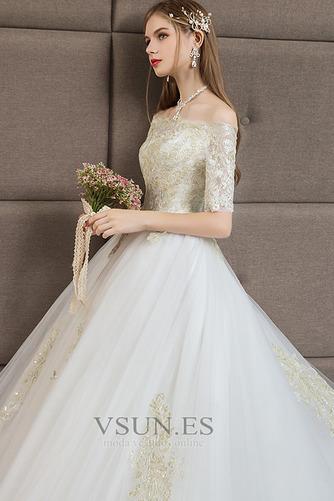 Vestido de novia Capa de encaje Corte-A Cordón Manga corta Natural Cola Catedral - Página 3