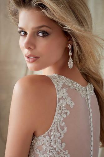 Vestido de novia Organza Pura espalda Sala Joya Abalorio Natural - Página 4