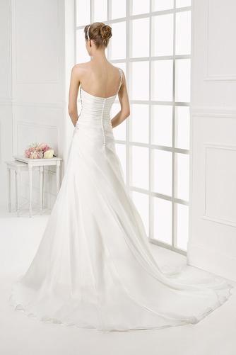 Vestido de novia Sencillo Cintura Baja Cremallera Corte-A largo Un sólo hombro - Página 2