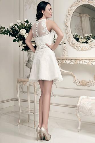 Vestido de novia Corto Joya Alto cubierto Fuera de casa tul Apliques - Página 2