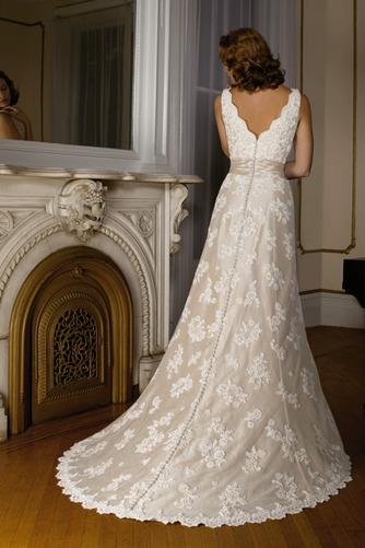 Vestido de novia Fuera de casa Encaje Corte-A primavera largo Escote en V - Página 2