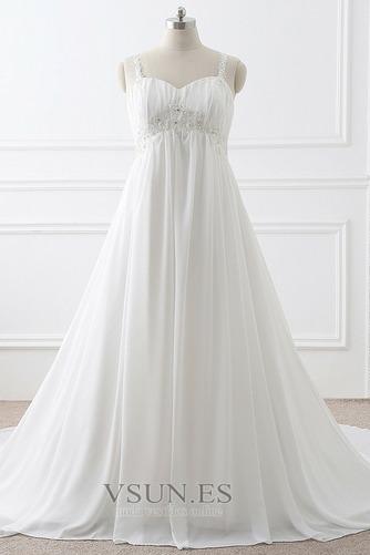 Vestido de novia Imperio largo Fuera de casa Sin mangas Escote de Tirantes Espaguetis - Página 1