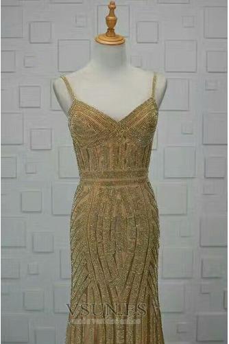 Vestido de noche Colores Escote de Tirantes Espaguetis Espalda medio descubierto - Página 4