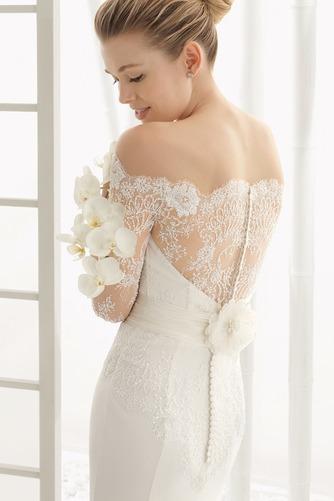 Vestido de novia Botón Escote con Hombros caídos Natural Verano Cola Barriba - Página 3