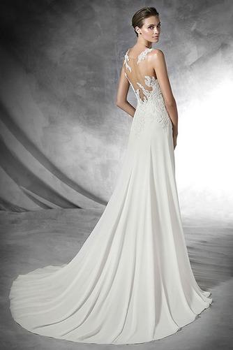 Vestido de novia Con velo Moderno Apliques Natural Corte Recto Gasa - Página 2