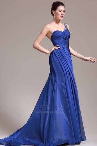 Vestido de noche Sin mangas Elegante azul medianoche Pura espalda Un sólo hombro - Página 4
