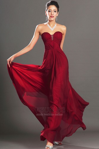 Vestido de noche Rojo Oscuro Sin tirantes Para Imperio Natural Cremallera - Página 1