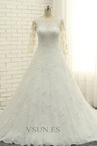 Vestido de novia Abalorio Corpiño Acentuado con Perla Pura espalda Natural - Página 1