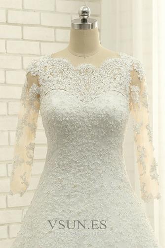 Vestido de novia Abalorio Corpiño Acentuado con Perla Pura espalda Natural - Página 5