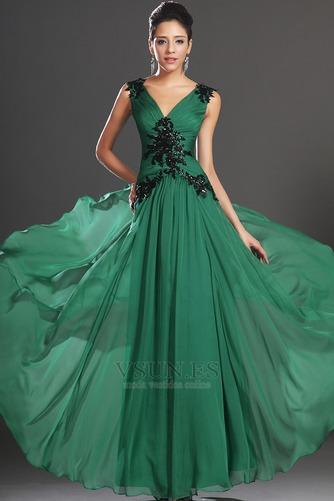 Vestidos de noche verde esmeralda Sin mangas Hasta el suelo Baja Escote en V - Página 2