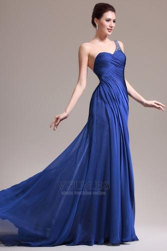 Vestido de noche Sin mangas Elegante azul medianoche Pura espalda Un sólo hombro - Página 3