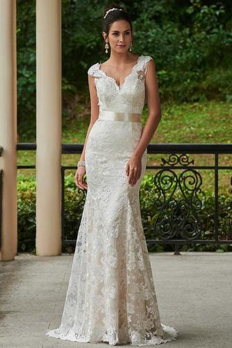 Vestido de novia Encaje Espalda medio descubierto Natural Fuera de casa - Página 1
