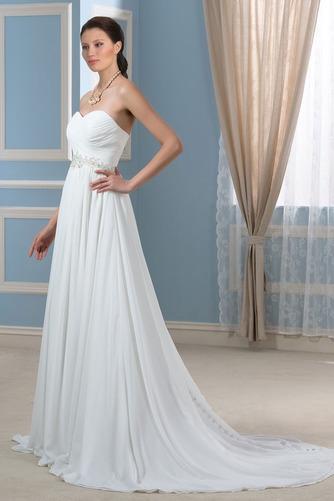 Vestido de novia Drapeado Sencillo Playa Gasa Natural Cinturón de cuentas - Página 3