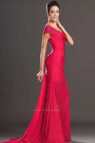 Vestido de noche rojos cereza Gasa Delgado largo Escote Asimètrico - Página 5