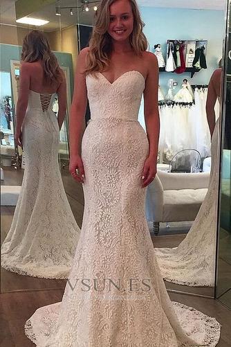 Vestido de novia Romántico Tallas pequeñas Otoño Corte Recto Encaje - Página 1