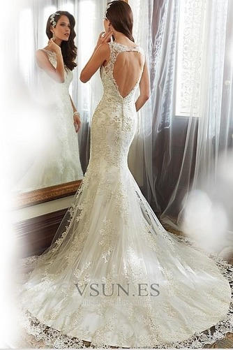 Vestido de novia Corte Sirena Encaje Espalda con ojo de cerradura Sin mangas - Página 2