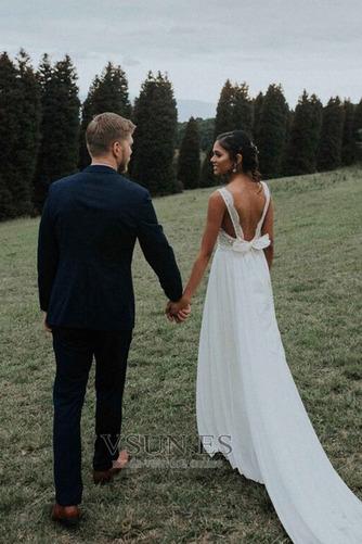 Vestido de novia Gasa Capa de encaje Arco Acentuado Espalda Descubierta - Página 2