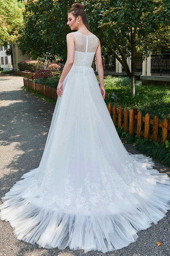 Vestido de novia Natural Barco largo Pura espalda Encaje Reloj de Arena - Página 3