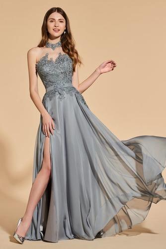 Vestido de fiesta Elegante Capa de encaje Escote con cuello Alto Corte-A - Página 1